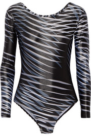 I Am Adventurous printed stretch-jersey leotard