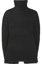 Santiago ribbed merino wool turtleneck poncho