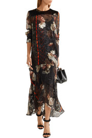 Poem velvet-trimmed printed fil coupé silk-chiffon dress