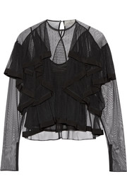 Elvina ruffled tulle blouse