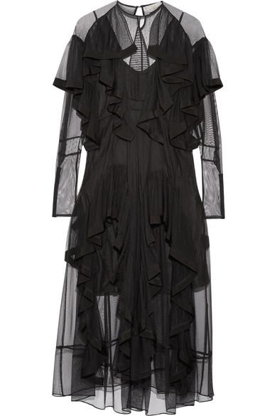 Preen by Thornton Bregazzi - Idella Ruffled Tulle Midi Dress - Black