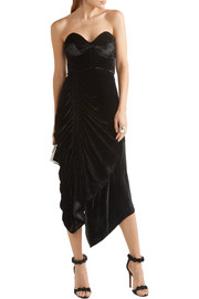 Preen by Thornton Bregazzi Alexa strapless lace-trimmed velvet dress