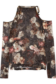 Preen by Thornton Bregazzi Alva cutout devoré silk-blend chiffon blouse