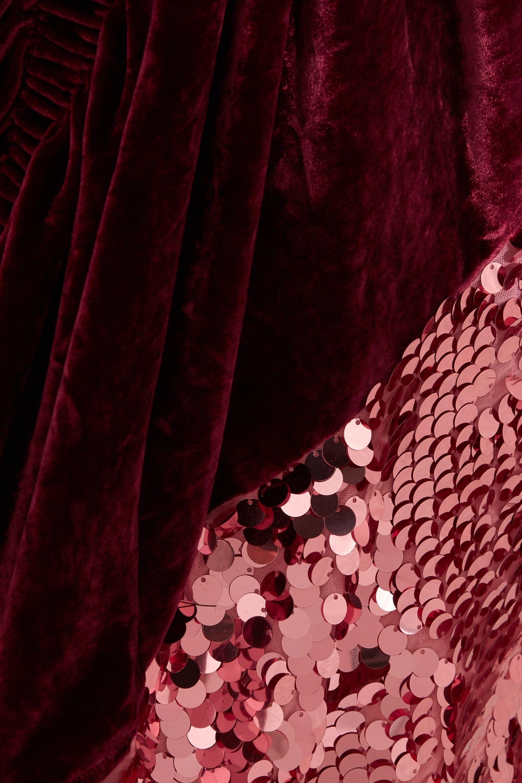 Preen by Thornton Bregazzi Arnette embellished tulle, velvet and silk midi skirt