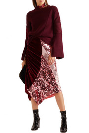 Arnette embellished tulle, velvet and silk midi skirt