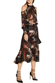 Walsh printed devoré silk-blend chiffon midi skirt