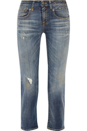 Boy Straight distressed mid-rise jeans
