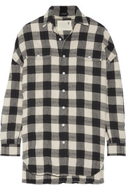 Oversized plaid cotton and wool-blend shirt