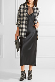R13 Oversized plaid cotton and wool-blend shirt