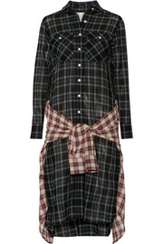 Grunge wrap-effect checked wool-blend gauze dress