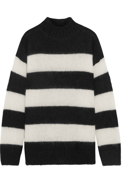 R13 - Nancy Striped Mohair-blend Sweater - Black