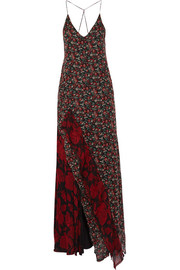 R13 Ruffled printed silk-chiffon maxi dress