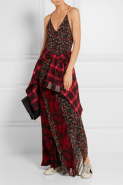 Ruffled printed silk-chiffon maxi dress