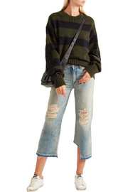 R13 Camille distressed mid-rise straight-leg jeans
