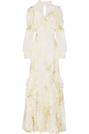 Erdem Sheena ruffled metallic fil coupé gown