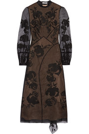 Erdem Brianna embroidered silk-blend organza and Swiss-dot tulle dress