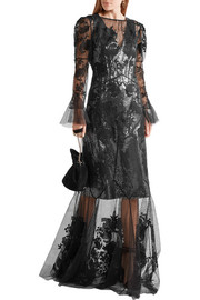 Erdem Leanne embroidered silk-organza and Swiss-dot tulle gown