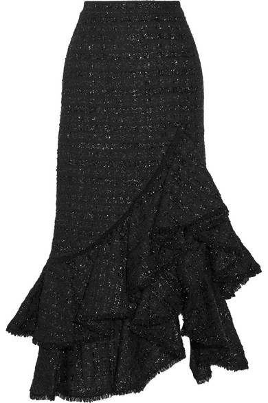 Erdem - Cerena Ruffled Metallic Tweed Skirt - Black
