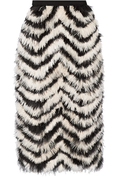 Erdem - Skyla Feather-paneled Crepe Skirt - Zebra print