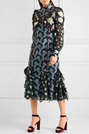 Erdem Sadie velvet-trimmed ruffled metallic fil coupé dress