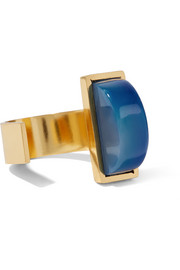 Blau gold-plated quartz ring