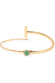 Finite convertible gold-plated, emerald and lapis lazuli choker