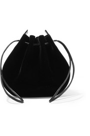 Caprice patent leather-trimmed velvet shoulder bag