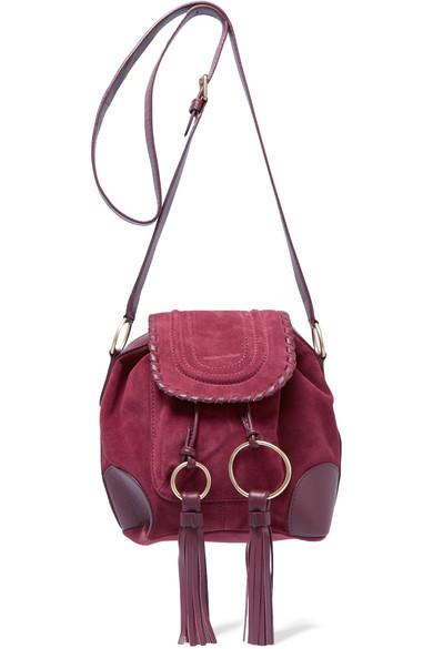See by Chloé - Polly Taseled Leather-trimmed Suede Shoulder Bag - Pink