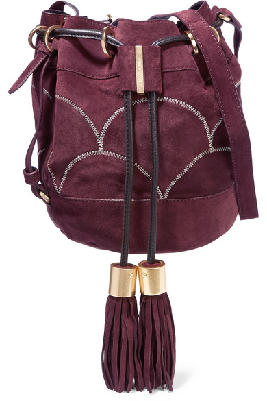 See by Chloé - Vicki Embroidered Suede Bucket Bag - Burgundy