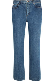 Sailor cropped mid-rise wide-leg jeans