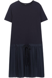 Cotton-jersey and pleated satin-twill dress