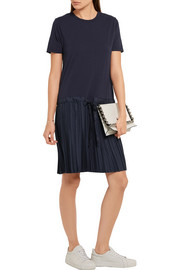CLU Cotton-jersey and pleated satin-twill dress
