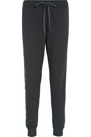 CLU Silk-blend paneled slub-jersey track pants