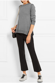 CLU Pleated satin-trimmed knitted sweater