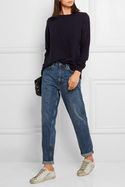 CLU Pleated satin twill-paneled cotton sweater