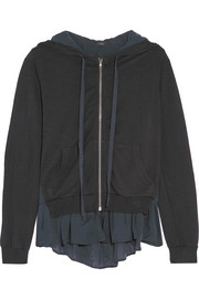 Washed silk-paneled slub jersey hooded sweatshirt