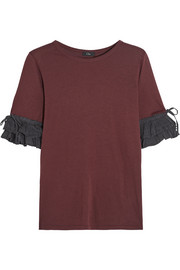 Washed silk-trimmed cotton and modal-blend jersey top