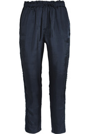 Corded lace-paneled satin-twill track pants