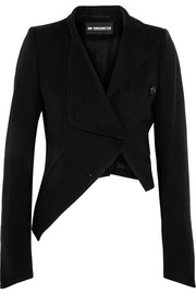 Asymmetric wool and cotton-blend jacket
