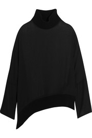 Silk-georgette turtleneck top