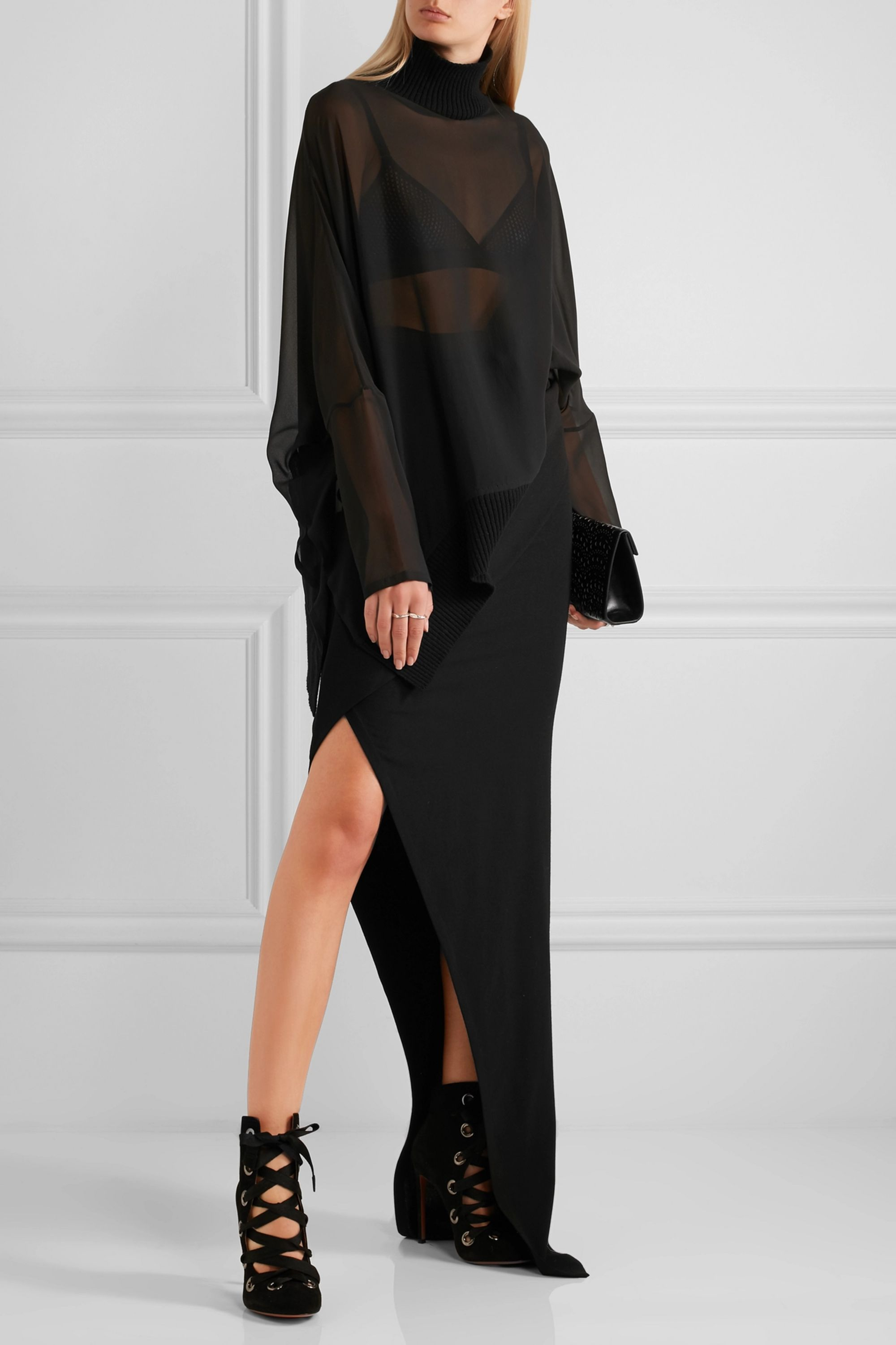 Ann Demeulemeester Silk-georgette turtleneck top