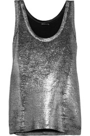 Metallic linen and wool-blend tank