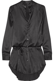 Stretch-silk satin shirt