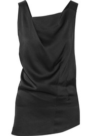 Open-back asymmetric crepe de chine top