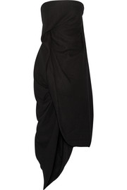 Rick Owens Asymmetric gathered silk and wool-blend midi dress