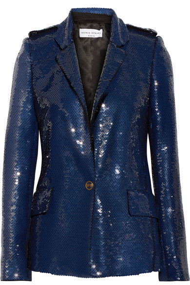 Sonia Rykiel - Sequined Crepe Jacket - Storm blue