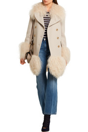 Shearling-trimmed wool-blend coat