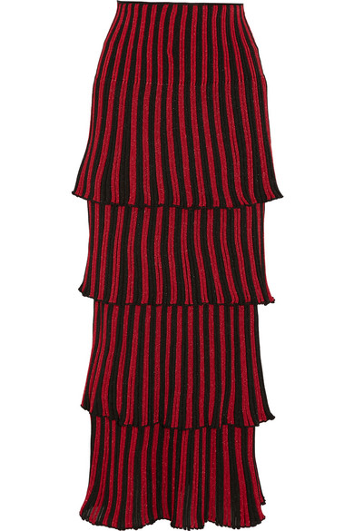 Sonia Rykiel - Tiered Metallic Striped Knitted Maxi Skirt