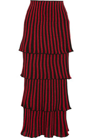 Tiered metallic striped knitted maxi skirt