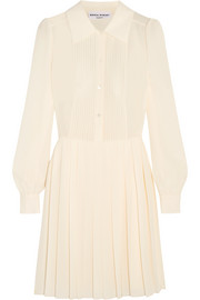 Pleated silk-crepe mini dress